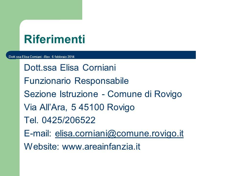 Riferimenti Dott.ssa Elisa Corniani Funzionario Responsabile Sezione Istruzione - Comune di Rovigo Via AllAra, 5 45100 Rovigo Tel. 0425/206522 E-mail: