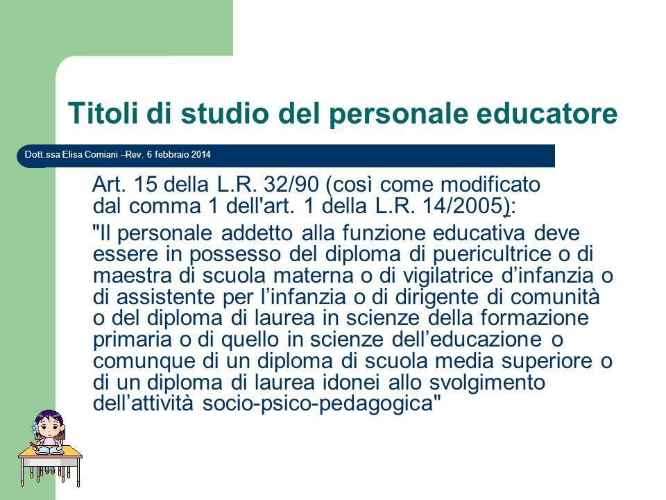 Titoli di studio del personale educatore Art. 15 della L.R. 32/90 (così come modificato dal comma 1 dell'art. 1 della L.R. 14/2005):)
