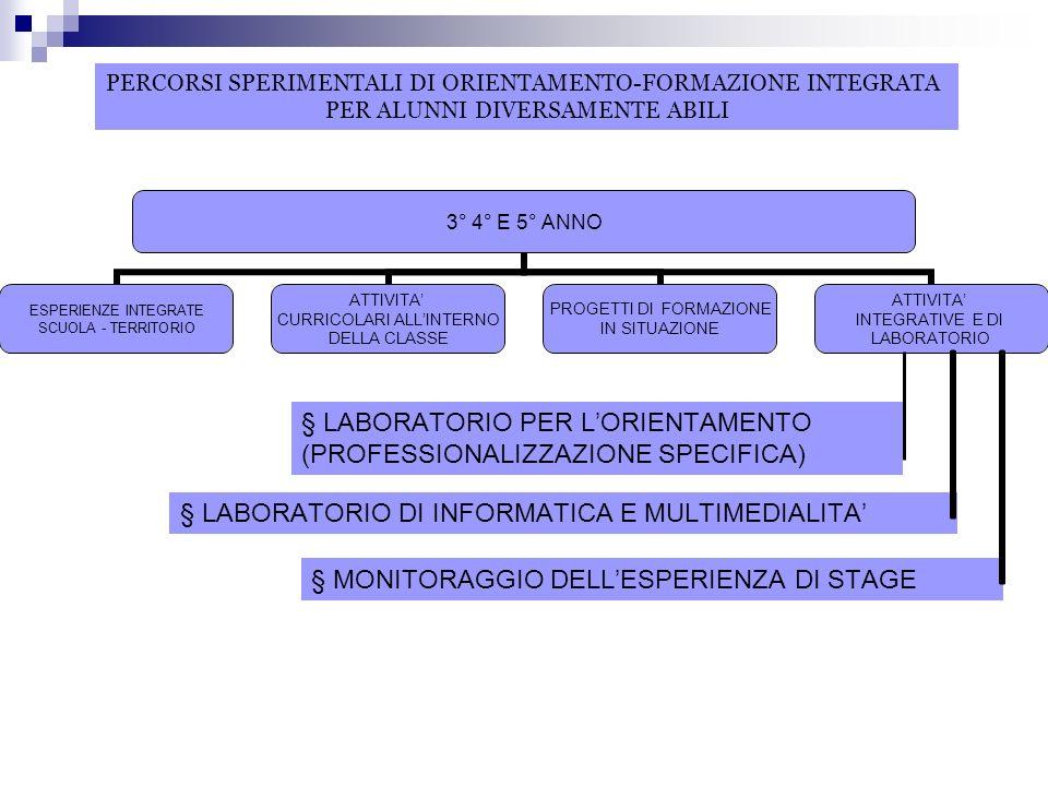 § MONITORAGGIO DELLESPERIENZA DI STAGE § LABORATORIO PER LORIENTAMENTO (PROFESSIONALIZZAZIONE SPECIFICA) § LABORATORIO DI INFORMATICA E MULTIMEDIALITA PERCORSI SPERIMENTALI DI ORIENTAMENTO-FORMAZIONE INTEGRATA PER ALUNNI DIVERSAMENTE ABILI