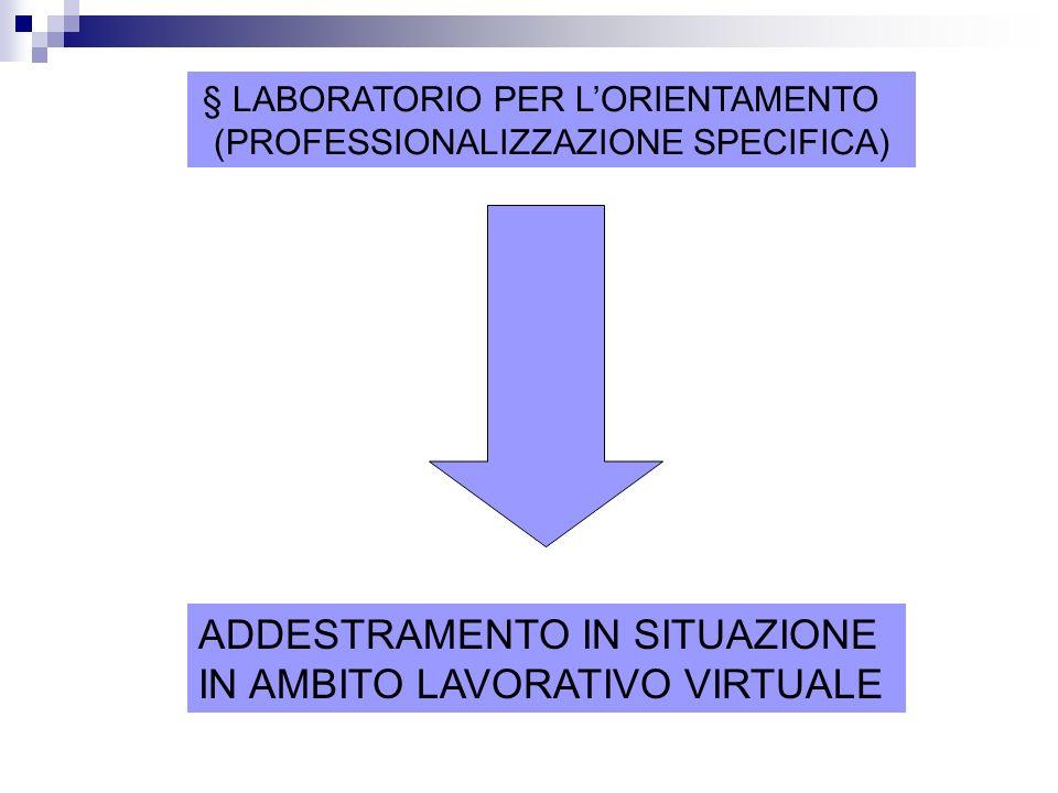 § LABORATORIO PER LORIENTAMENTO (PROFESSIONALIZZAZIONE SPECIFICA) ADDESTRAMENTO IN SITUAZIONE IN AMBITO LAVORATIVO VIRTUALE