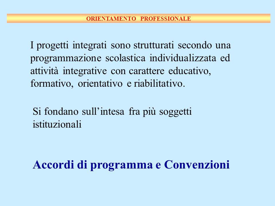 I progetti integrati sono strutturati secondo una programmazione scolastica individualizzata ed attività integrative con carattere educativo, formativo, orientativo e riabilitativo.