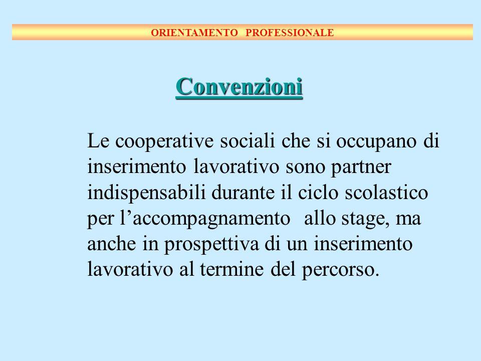 Le cooperative sociali che si occupano di inserimento lavorativo sono partner indispensabili durante il ciclo scolastico per laccompagnamento allo stage, ma anche in prospettiva di un inserimento lavorativo al termine del percorso.