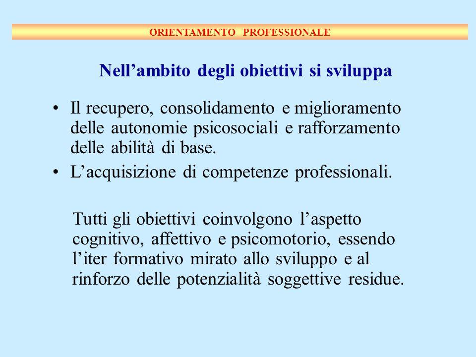 Nellambito degli obiettivi si sviluppa Il recupero, consolidamento e miglioramento delle autonomie psicosociali e rafforzamento delle abilità di base.