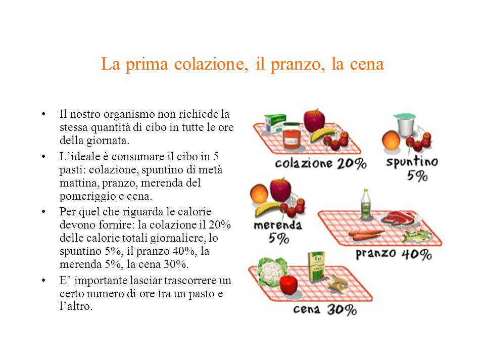 La prima colazione, il pranzo, la cena Il nostro organismo non richiede la stessa quantità di cibo in tutte le ore della giornata. Lideale è consumare