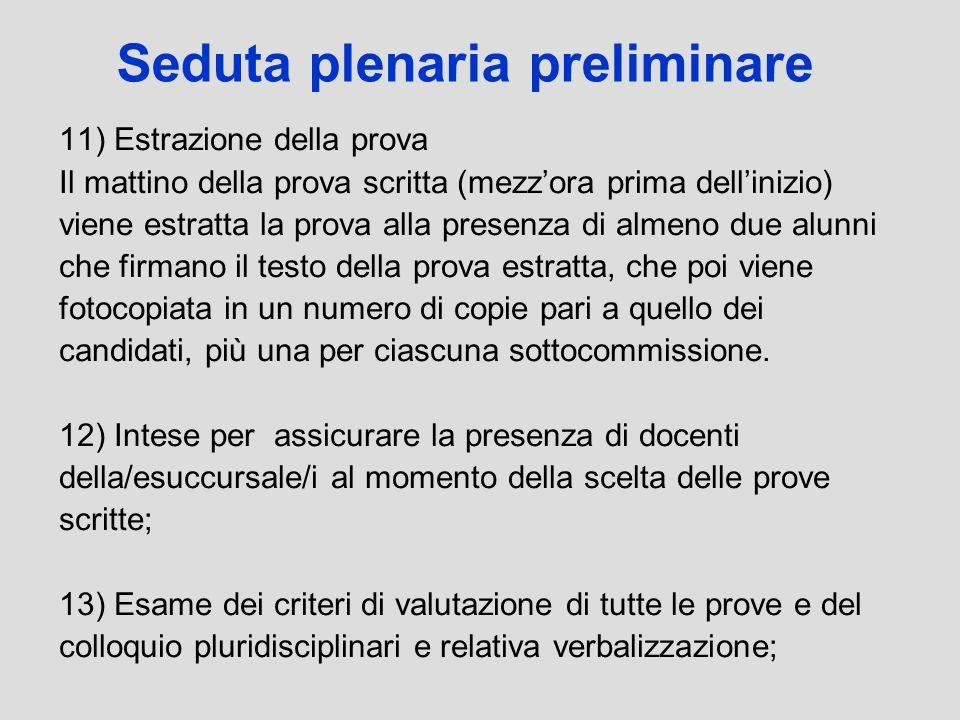 Seduta plenaria preliminare 11) Estrazione della prova Il mattino della prova scritta (mezzora prima dellinizio) viene estratta la prova alla presenza