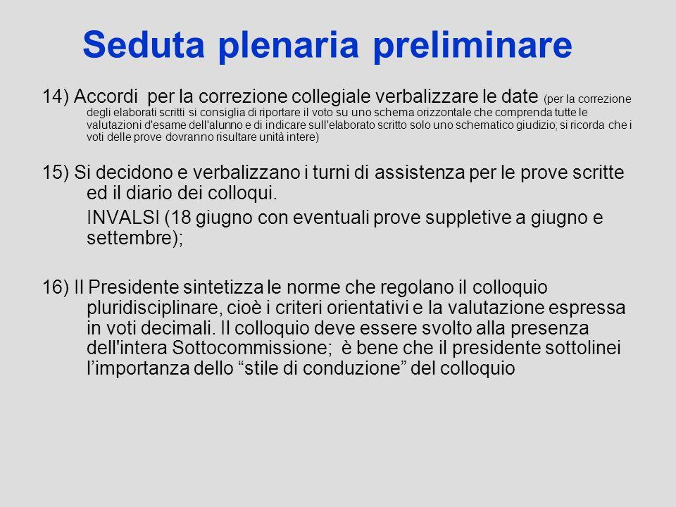 Seduta plenaria preliminare 14) Accordi per la correzione collegiale verbalizzare le date (per la correzione degli elaborati scritti si consiglia di r