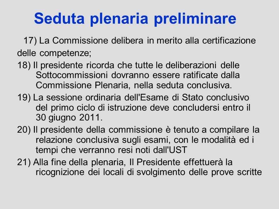 Seduta plenaria preliminare 17) La Commissione delibera in merito alla certificazione delle competenze; 18) Il presidente ricorda che tutte le deliber
