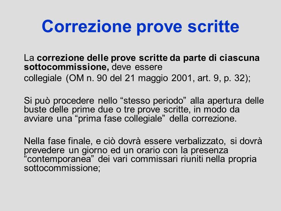 Correzione prove scritte La correzione delle prove scritte da parte di ciascuna sottocommissione, deve essere collegiale (OM n. 90 del 21 maggio 2001,