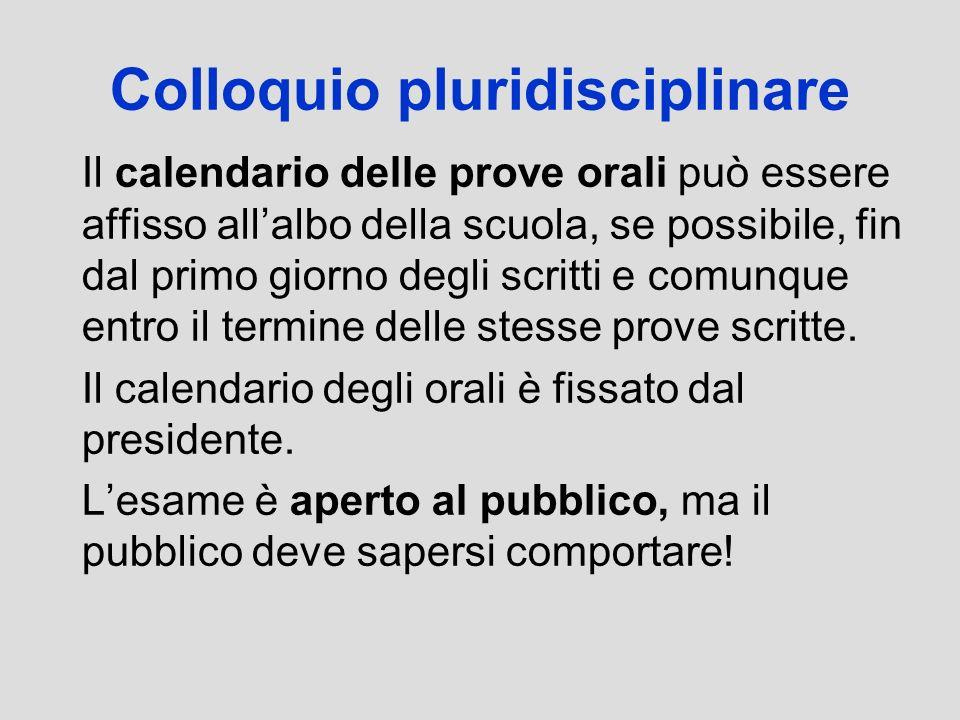 Colloquio pluridisciplinare Il calendario delle prove orali può essere affisso allalbo della scuola, se possibile, fin dal primo giorno degli scritti
