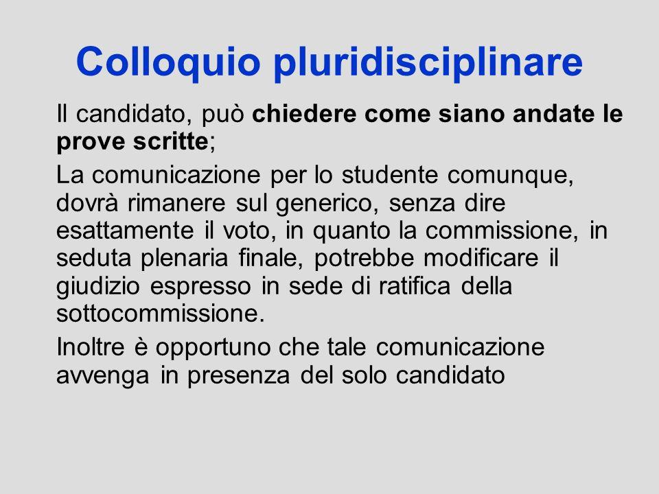 Colloquio pluridisciplinare Il candidato, può chiedere come siano andate le prove scritte; La comunicazione per lo studente comunque, dovrà rimanere s