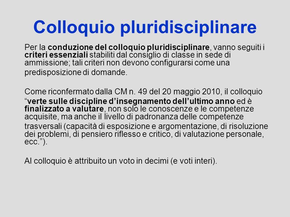 Colloquio pluridisciplinare Per la conduzione del colloquio pluridisciplinare, vanno seguiti i criteri essenziali stabiliti dal consiglio di classe in