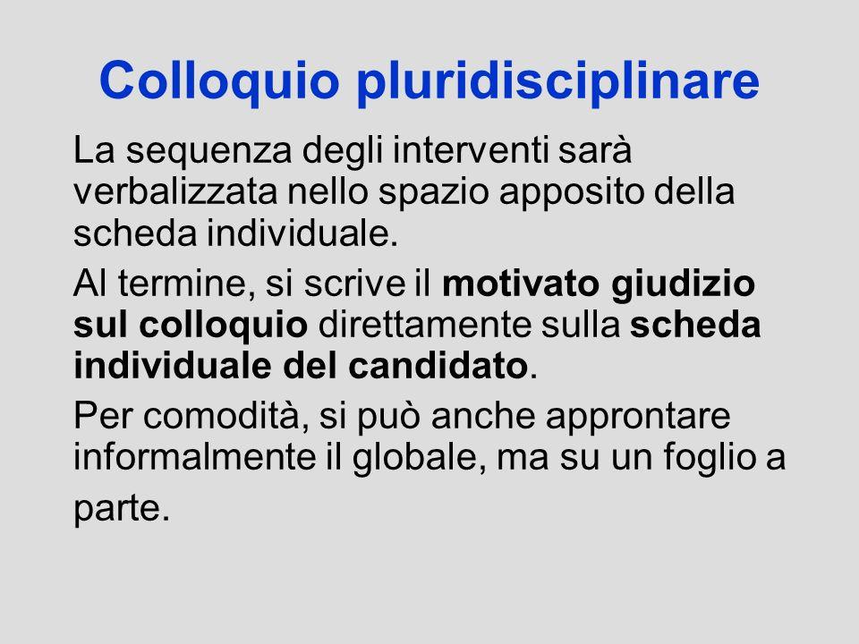 Colloquio pluridisciplinare La sequenza degli interventi sarà verbalizzata nello spazio apposito della scheda individuale. Al termine, si scrive il mo