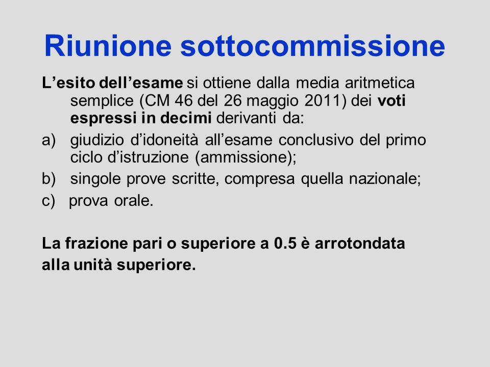 Riunione sottocommissione Lesito dellesame si ottiene dalla media aritmetica semplice (CM 46 del 26 maggio 2011) dei voti espressi in decimi derivanti