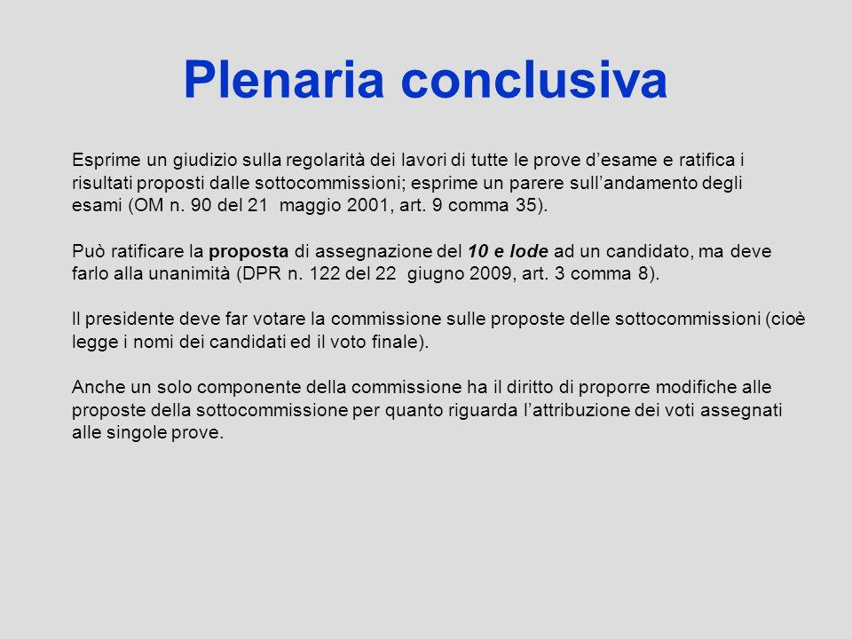 Plenaria conclusiva Esprime un giudizio sulla regolarità dei lavori di tutte le prove desame e ratifica i risultati proposti dalle sottocommissioni; e