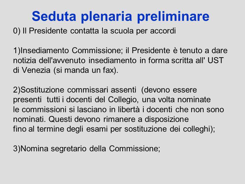 Seduta plenaria preliminare 0) Il Presidente contatta la scuola per accordi 1)Insediamento Commissione; il Presidente è tenuto a dare notizia dell'avv