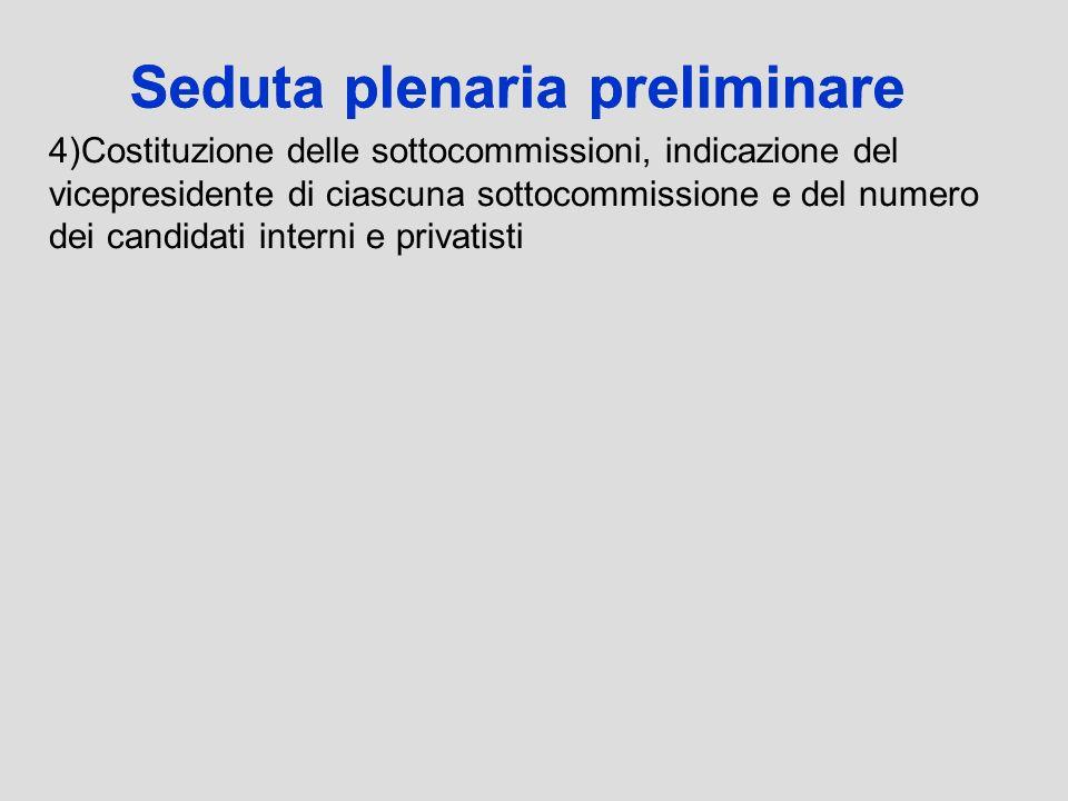 Seduta plenaria preliminare 4)Costituzione delle sottocommissioni, indicazione del vicepresidente di ciascuna sottocommissione e del numero dei candid