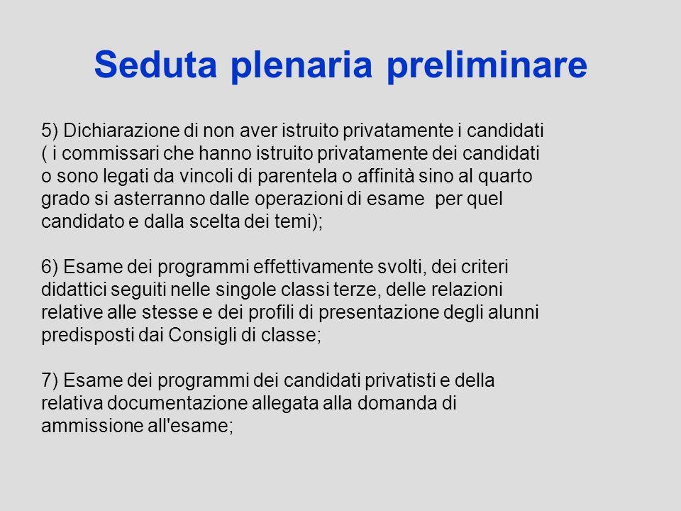 5) Dichiarazione di non aver istruito privatamente i candidati ( i commissari che hanno istruito privatamente dei candidati o sono legati da vincoli d