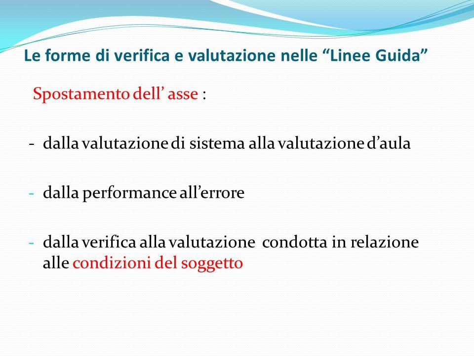 Le forme di verifica e valutazione nelle Linee Guida Spostamento dell asse : - dalla valutazione di sistema alla valutazione daula - dalla performance