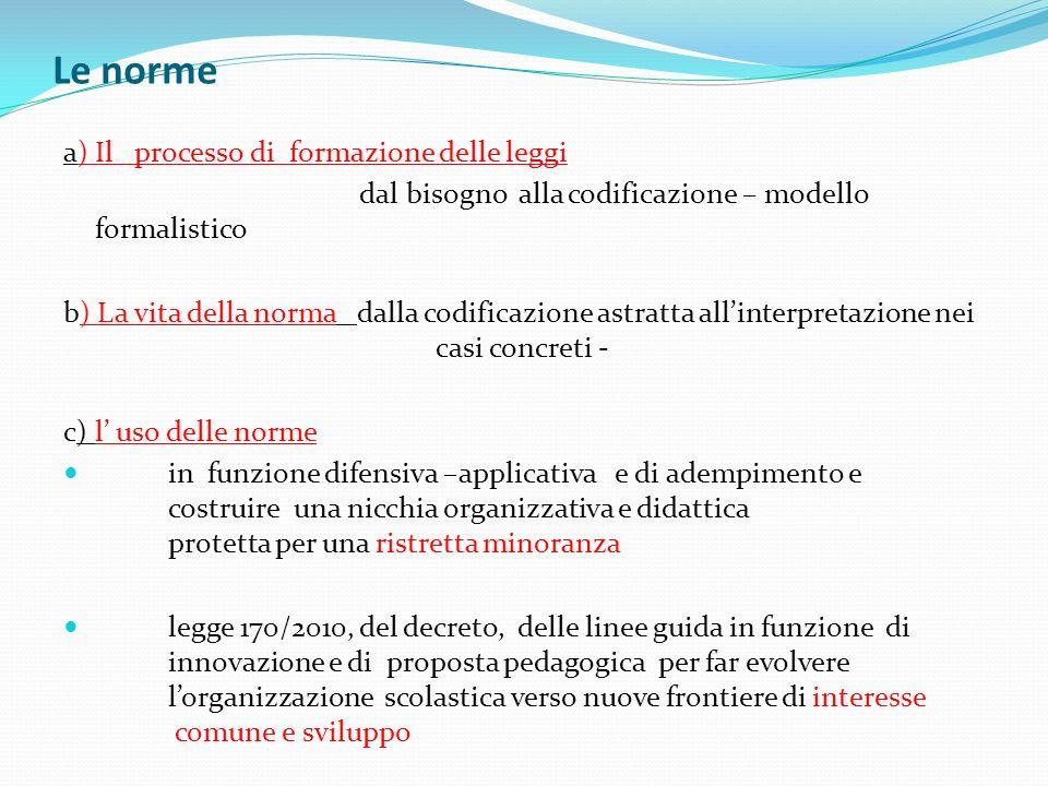 Le norme a) Il processo di formazione delle leggi dal bisogno alla codificazione – modello formalistico b) La vita della norma dalla codificazione ast
