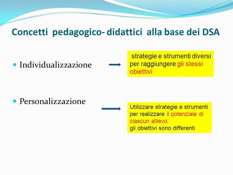 Concetti pedagogico- didattici alla base dei DSA Individualizzazione Personalizzazione strategie e strumenti diversi per raggiungere gli stessi obiett