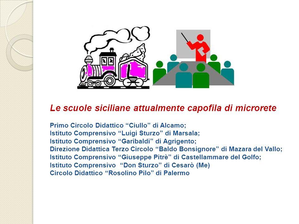 Le scuole siciliane attualmente capofila di microrete Primo Circolo Didattico Ciullo di Alcamo; Istituto Comprensivo Luigi Sturzo di Marsala; Istituto