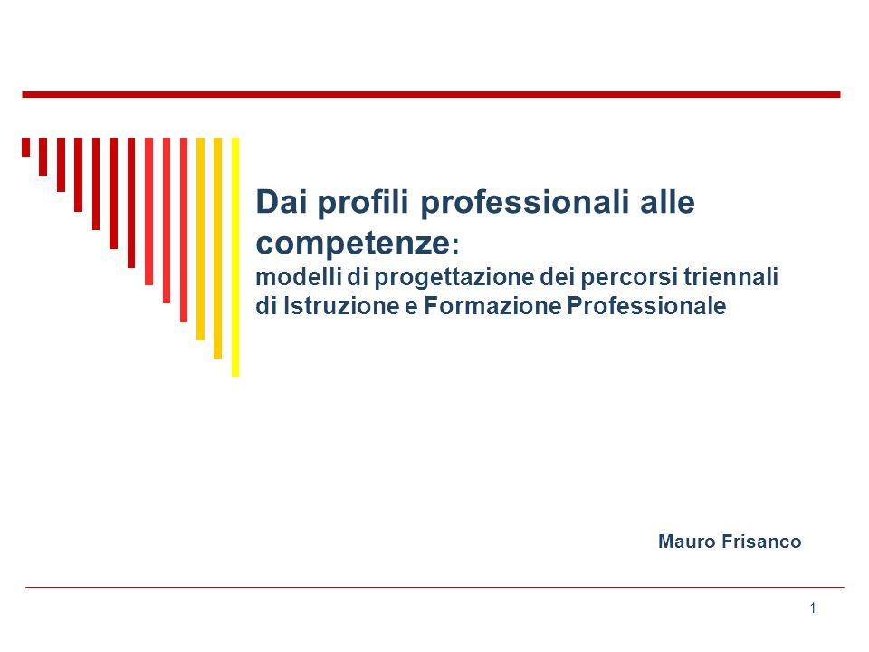 1 Dai profili professionali alle competenze : modelli di progettazione dei percorsi triennali di Istruzione e Formazione Professionale Mauro Frisanco