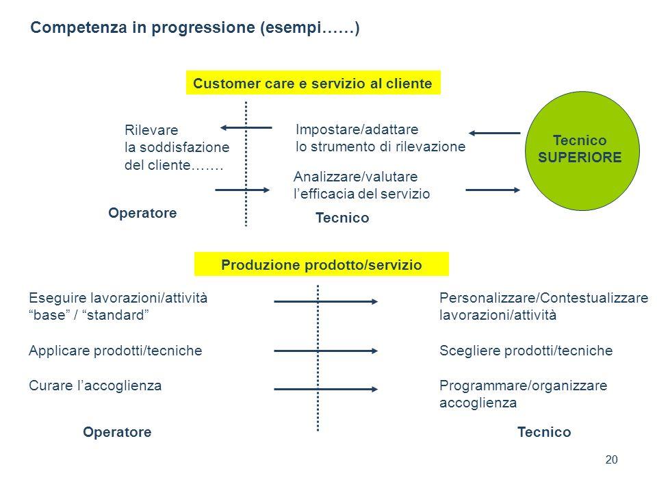20 Competenza in progressione (esempi……) Customer care e servizio al cliente Operatore Impostare/adattare lo strumento di rilevazione Rilevare la sodd