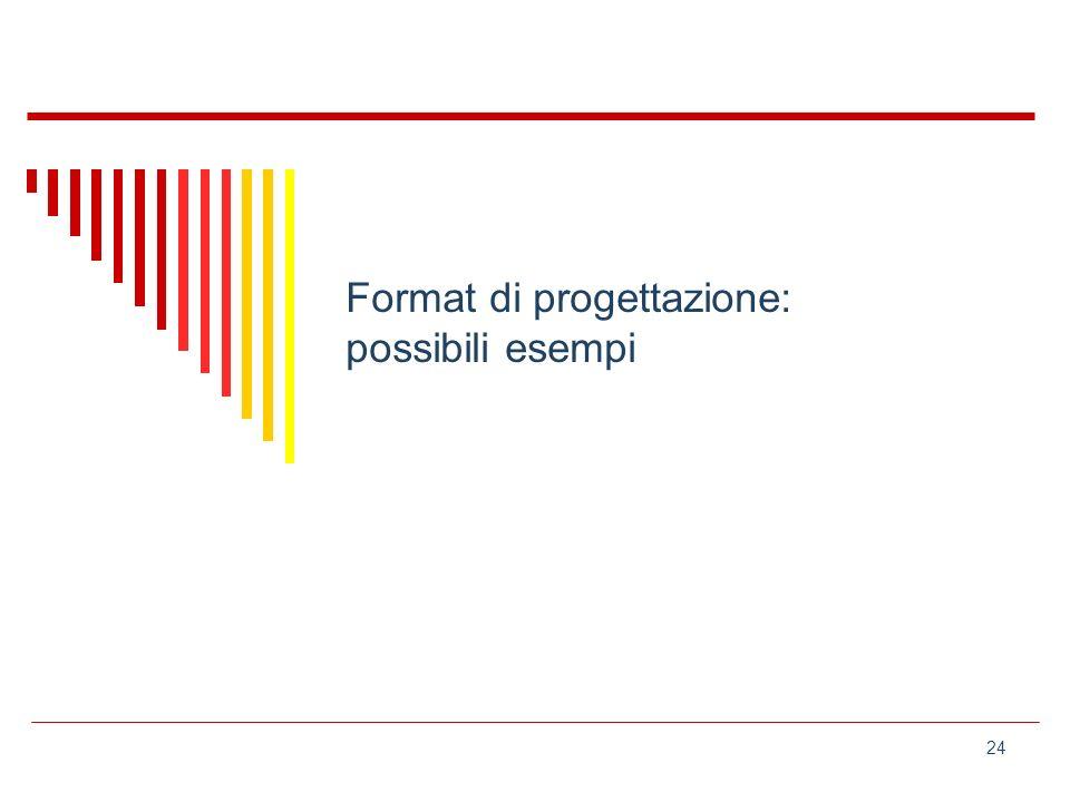 24 Format di progettazione: possibili esempi