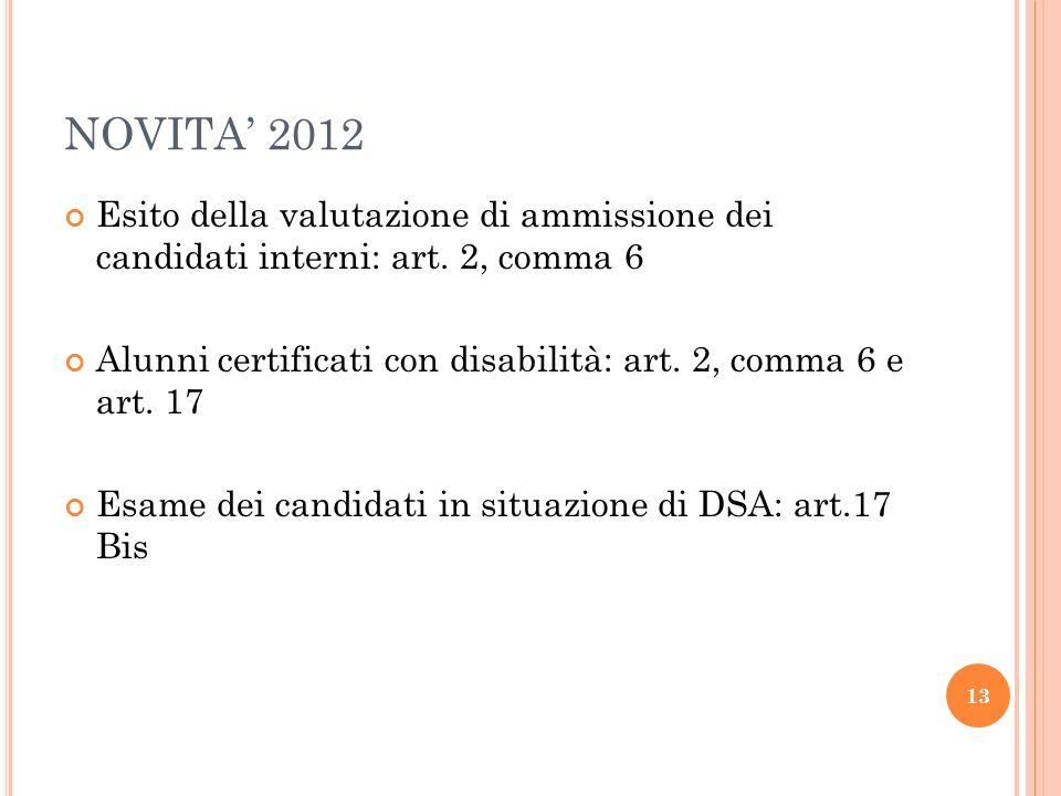 NOVITA 2012 Esito della valutazione di ammissione dei candidati interni: art. 2, comma 6 Alunni certificati con disabilità: art. 2, comma 6 e art. 17