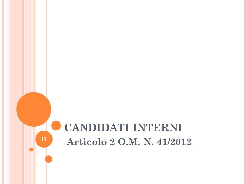 CANDIDATI INTERNI Articolo 2 O.M. N. 41/2012 17