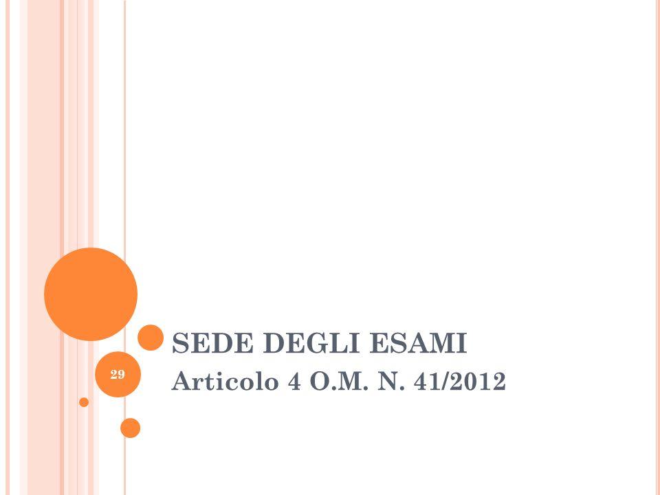 SEDE DEGLI ESAMI Articolo 4 O.M. N. 41/2012 29
