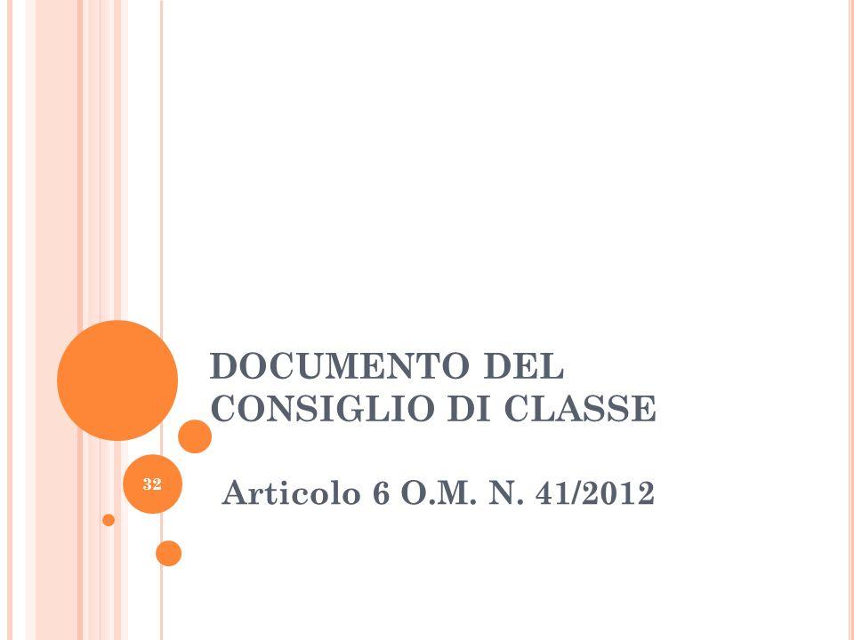 DOCUMENTO DEL CONSIGLIO DI CLASSE Articolo 6 O.M. N. 41/2012 32