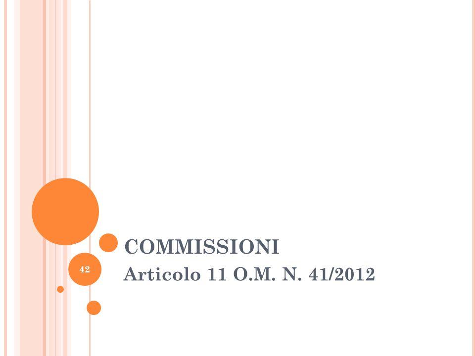 COMMISSIONI Articolo 11 O.M. N. 41/2012 42