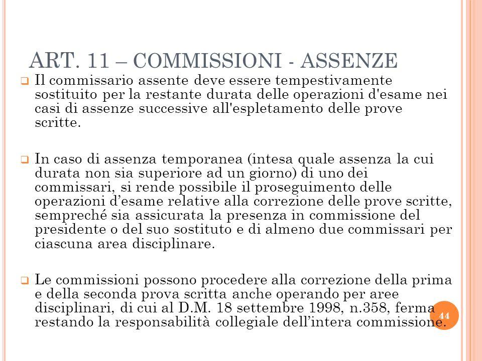 ART. 11 – COMMISSIONI - ASSENZE Il commissario assente deve essere tempestivamente sostituito per la restante durata delle operazioni d'esame nei casi