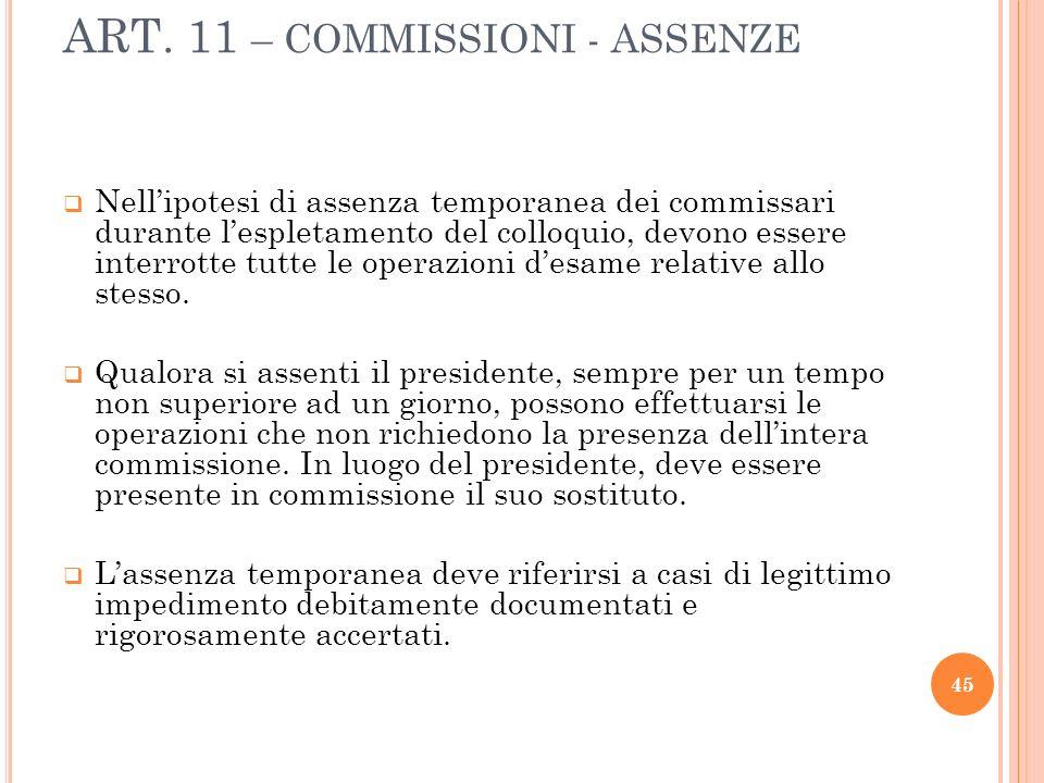 ART. 11 – COMMISSIONI - ASSENZE Nellipotesi di assenza temporanea dei commissari durante lespletamento del colloquio, devono essere interrotte tutte l