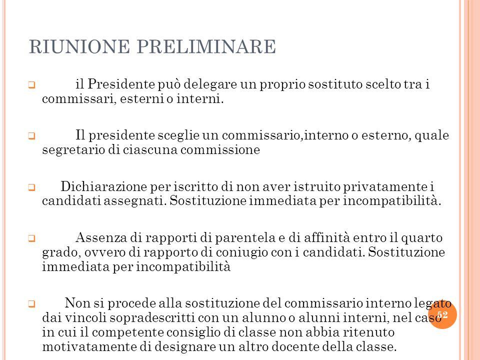 RIUNIONE PRELIMINARE il Presidente può delegare un proprio sostituto scelto tra i commissari, esterni o interni. Il presidente sceglie un commissario,
