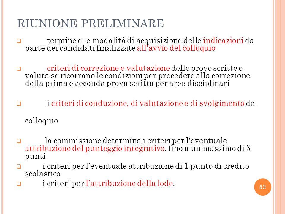 RIUNIONE PRELIMINARE termine e le modalità di acquisizione delle indicazioni da parte dei candidati finalizzate all'avvio del colloquio criteri di cor