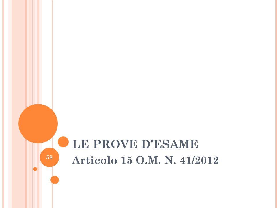 LE PROVE DESAME Articolo 15 O.M. N. 41/2012 58