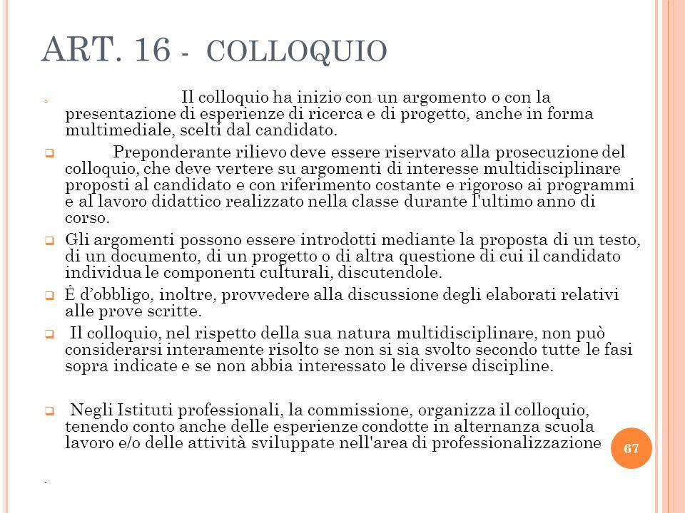 ART. 16 - COLLOQUIO Il colloquio ha inizio con un argomento o con la presentazione di esperienze di ricerca e di progetto, anche in forma multimediale