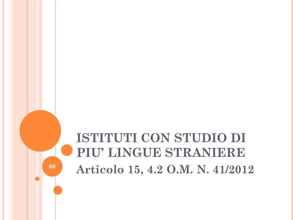 ISTITUTI CON STUDIO DI PIU LINGUE STRANIERE Articolo 15, 4.2 O.M. N. 41/2012 69
