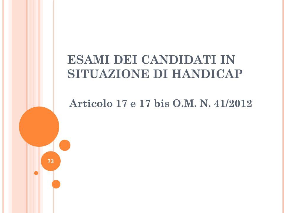 ESAMI DEI CANDIDATI IN SITUAZIONE DI HANDICAP Articolo 17 e 17 bis O.M. N. 41/2012 73