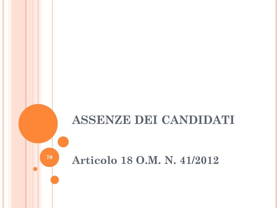 ASSENZE DEI CANDIDATI Articolo 18 O.M. N. 41/2012 79