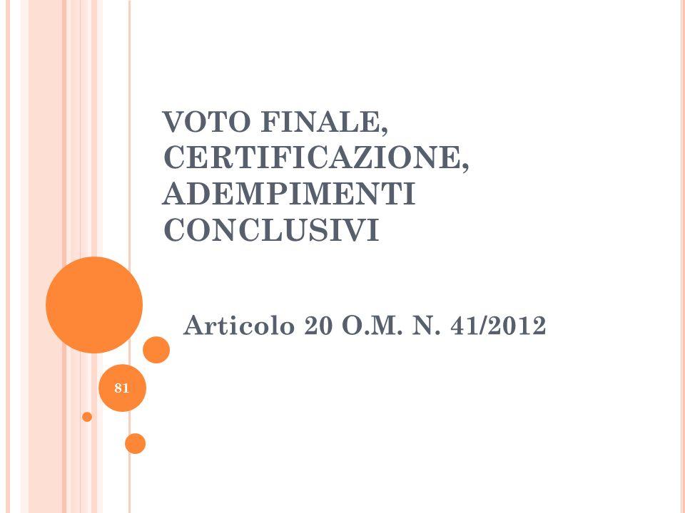 VOTO FINALE, CERTIFICAZIONE, ADEMPIMENTI CONCLUSIVI Articolo 20 O.M. N. 41/2012 81