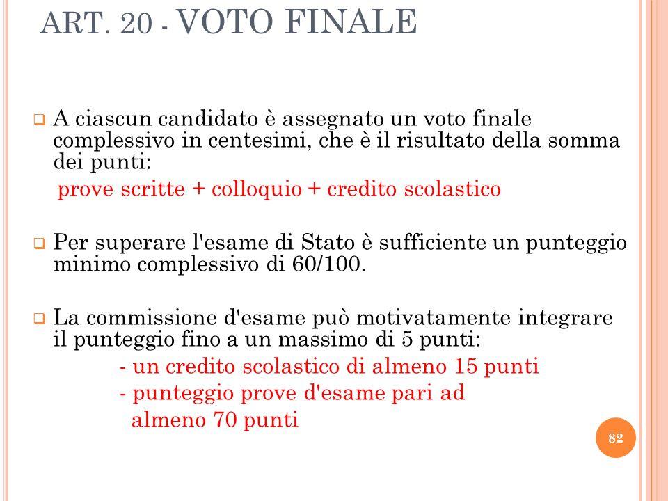 ART. 20 - VOTO FINALE A ciascun candidato è assegnato un voto finale complessivo in centesimi, che è il risultato della somma dei punti: prove scritte