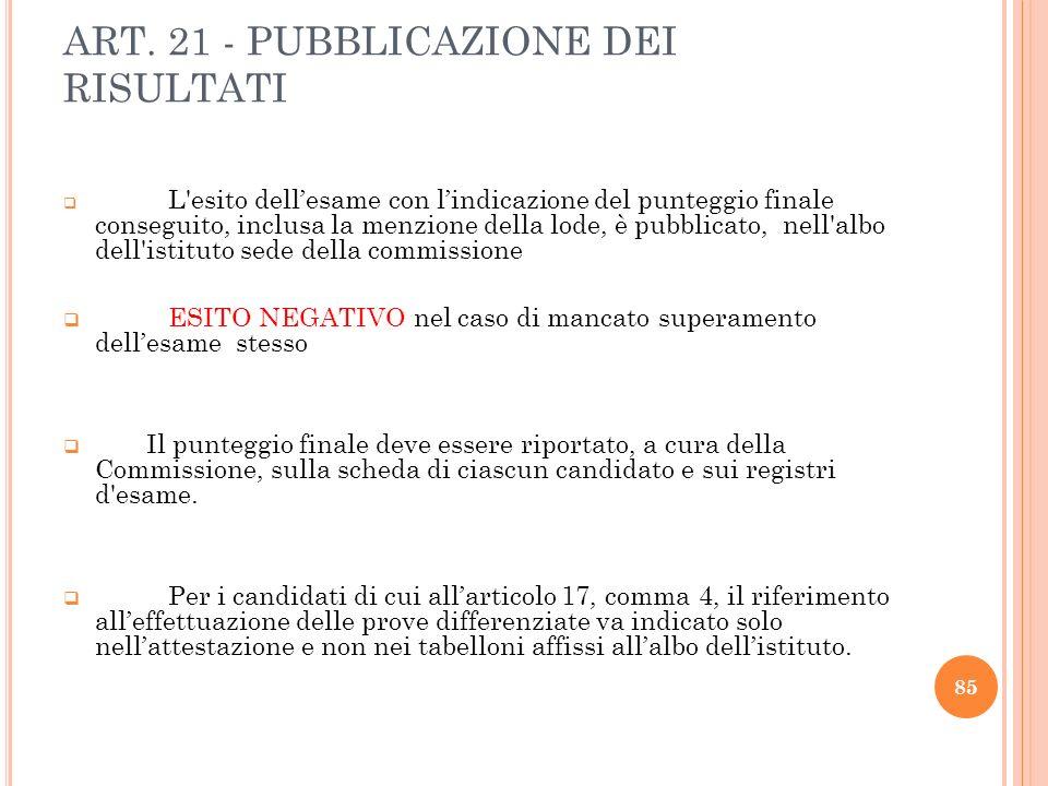 ART. 21 - PUBBLICAZIONE DEI RISULTATI L'esito dellesame con lindicazione del punteggio finale conseguito, inclusa la menzione della lode, è pubblicato