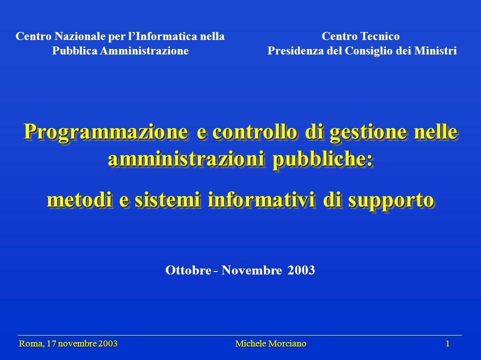 Roma, 17 novembre 2003 Michele Morciano 12 Roma, 17 novembre 2003 Michele Morciano 12 Il ciclo di PCG Processi Risultati Scostamenti Budget Obiettivi Misure correttive (Gestionali)