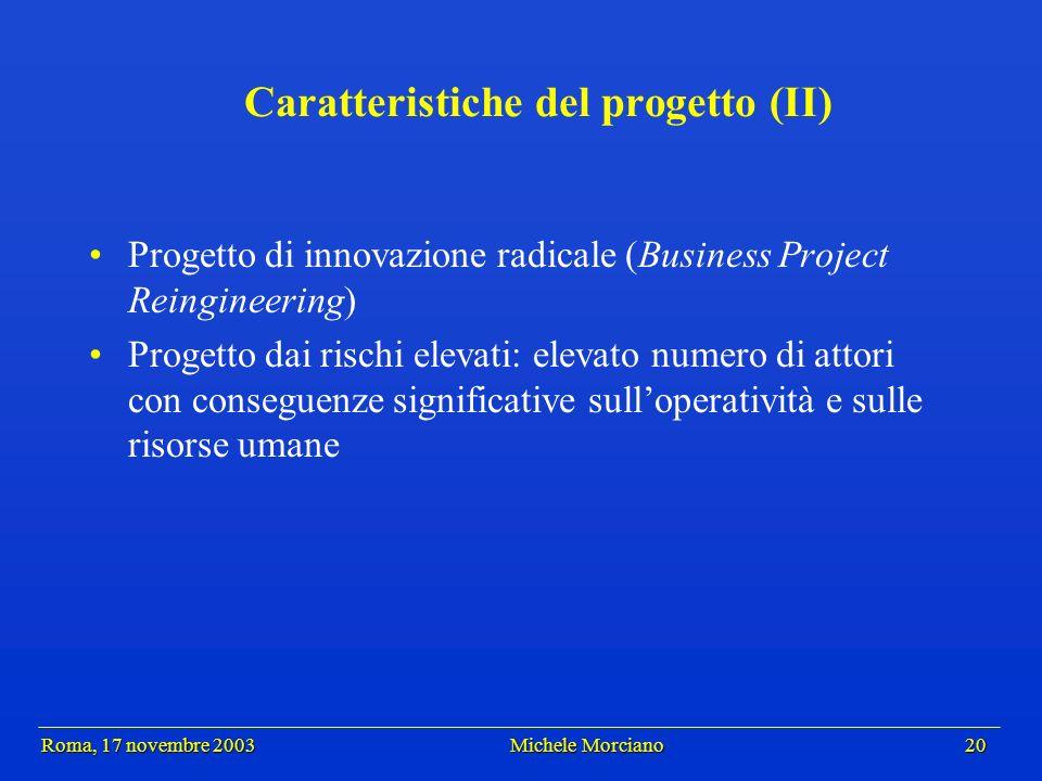 Roma, 17 novembre 2003 Michele Morciano 20 Roma, 17 novembre 2003 Michele Morciano 20 Caratteristiche del progetto (II) Progetto di innovazione radica