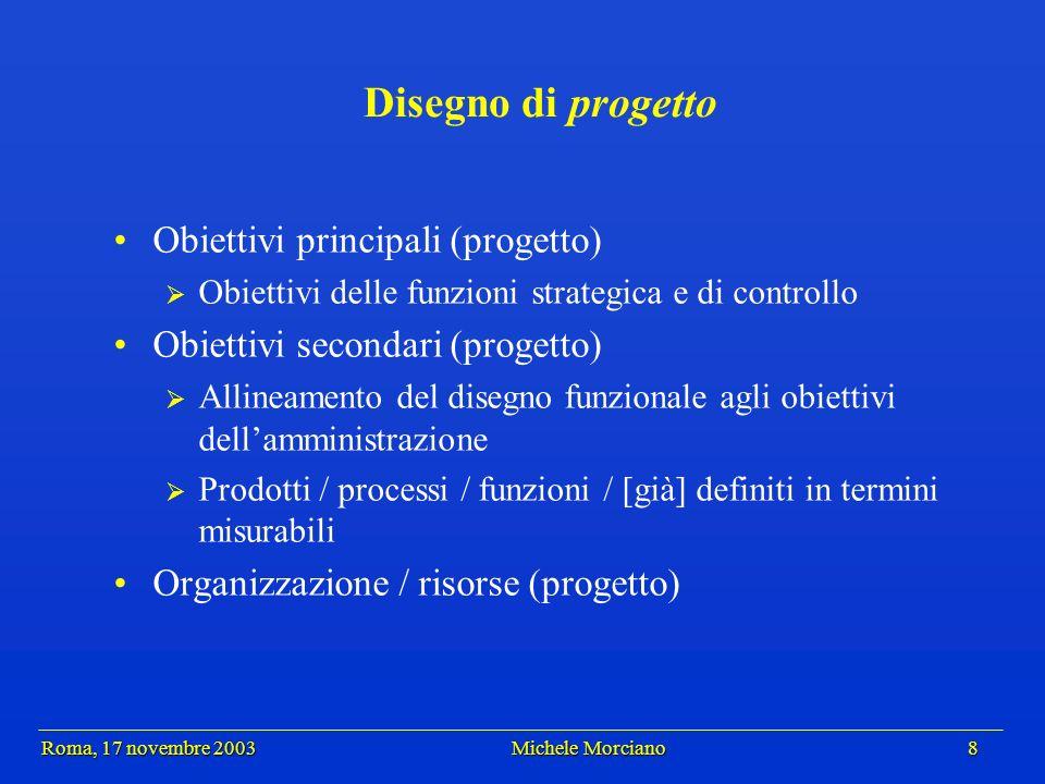 Roma, 17 novembre 2003 Michele Morciano 8 Roma, 17 novembre 2003 Michele Morciano 8 Disegno di progetto Obiettivi principali (progetto) Obiettivi dell