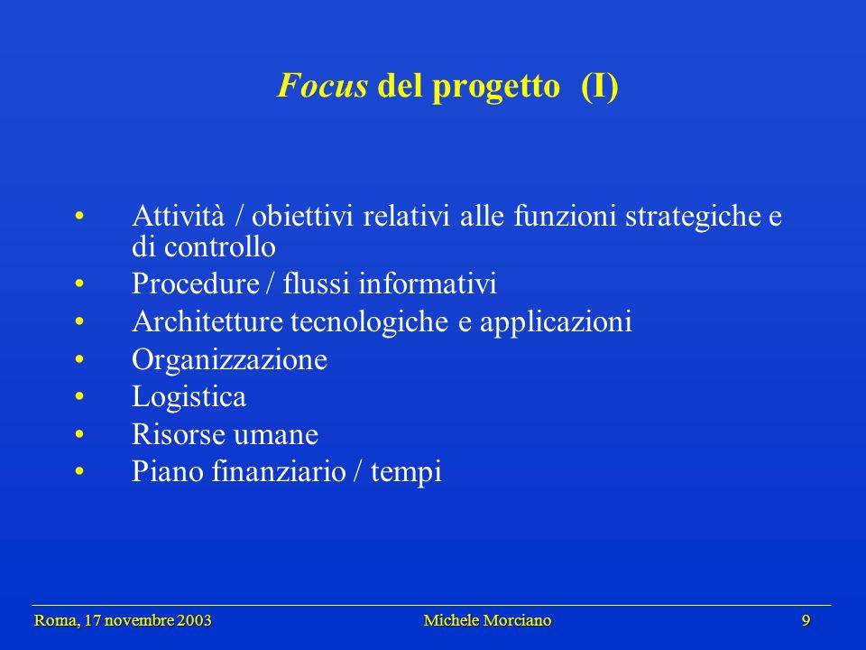 Roma, 17 novembre 2003 Michele Morciano 9 Roma, 17 novembre 2003 Michele Morciano 9 Focus del progetto (I) Attività / obiettivi relativi alle funzioni