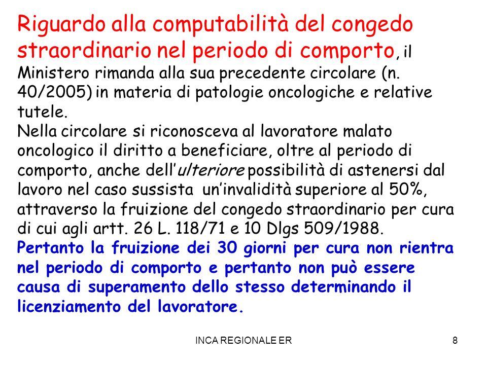 INCA REGIONALE ER8 Riguardo alla computabilità del congedo straordinario nel periodo di comporto, il Ministero rimanda alla sua precedente circolare (